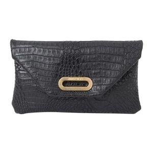 Jimmy Choo Black Croc Embossed Leather Clutch Bag
